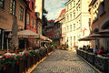Riga streets latvia september crossing of the pedestrian area in the old town Stock Photography