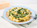 Rigatoni with arugula and chia Royalty Free Stock Photo