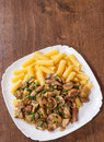 Rigatoni pasta with meat and mushroom sauce Royalty Free Stock Photo