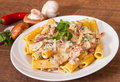 Rigatoni pasta with mushroom sauce Royalty Free Stock Photo