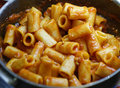 Rigatoni with ragu detail of in my house Stock Photography