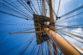 Rigging above a close up of a mast and at portsmouth Royalty Free Stock Photo