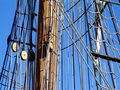 Rigging and mast of tallship Stock Photo