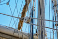 The rigging with pulley on a sailing ship. Royalty Free Stock Photo