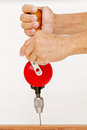 Right hand hold and left hand spin hand drill for drilling woode Royalty Free Stock Photo