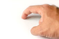 Right hand index finger is pointing at the white background Royalty Free Stock Photo