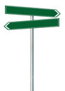 Right left road route direction pointer this way name sign, green isolated roadside signage, white traffic arrow frame roadsign Royalty Free Stock Photo