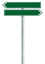 Right and left road route direction pointer this way sign, green isolated roadside signage, white traffic arrow frame roadsign Royalty Free Stock Photo