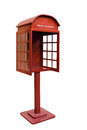 Right red antique phone booth on white background with path Royalty Free Stock Images