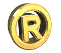 Right reserved symbol in gold - 3d Stock Photos