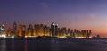 Right side of Dubai Marina including JBR seen from the Arabian Gulf Royalty Free Stock Photo