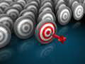 Right target d illustration of many targets with one red choice and success concept Stock Photos