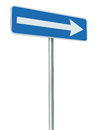 Right traffic route only direction sign turn pointer, blue isolated roadside signage perspective, white arrow icon and frame Royalty Free Stock Photo