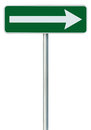 Right traffic route only direction sign turn pointer, green isolated roadside signage, white arrow icon frame roadsign, pole post Royalty Free Stock Photo