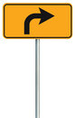 Right turn ahead route road sign, yellow isolated roadside traffic signage, this way only direction pointer, black arrow roadsign
