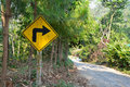 Right turn road sign yellow Royalty Free Stock Image