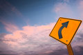 Right turn sign another in the summer sky Royalty Free Stock Photography