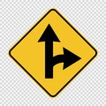 Right turn split sign on transparent background