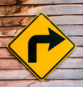 Right turning traffic road sign Stock Photo