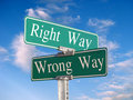 The Right Way or Wrong Way Royalty Free Stock Photo