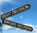 Right Or Wrong Decision Signpost Royalty Free Stock Image