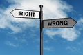 Right and wrong signpost with direction choices Royalty Free Stock Image