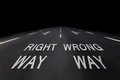 Right and wrong way by night Stock Image