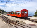 Rigi Railways, the highest standard gauge railway in Europe: Standard gauge rack railways, the Vitznau–Rigi Bahn VRB Royalty Free Stock Photo