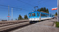 Rigi Railways train on the Rigi Staffel station Royalty Free Stock Photo