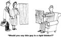 Rigid thinker business cartoon showing a very man and doctor says would you say this guy is a Royalty Free Stock Images