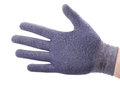 Rigth hand in cotton work glove Royalty Free Stock Photo