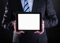 Rijpe zakenman showing digital tablet Royalty-vrije Stock Afbeelding