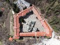 Rila Monastery bird sight from a drone. Aerial view of an orthodox monastery in the mountains