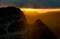 Rila mountain sunset in bulgaria Stock Photo