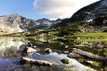 Rila mountains in bulgaria with lagoon in foreground Royalty Free Stock Photography
