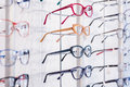 Rims in modern shapes colorful eyeglasses row Stock Images