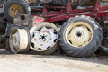 Rims and tires junk on junkyard Stock Images