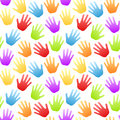 Rinbow colored hands seamless pattern Stock Image