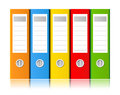Ring binders in different colors on a white background Stock Images