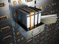 Ring binders on a safe deposit box. Confidential information con Royalty Free Stock Photo