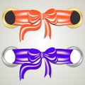 Ring and bow a set of satin ribbons anchored to the tied a beautiful vector illustration Stock Images