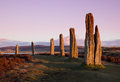 Ring of brodgar at dusk orkney scotland a neolithic stone circle and henge which is part the heart neolithic orkney world heritage Royalty Free Stock Images