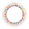 Ring of colorful dots scattered around. Modern design halftone element. Vector illustration