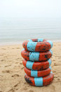 Ring float rental placed on the beach in thaland Royalty Free Stock Images