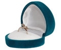 Ring in a gift box of turquoise on a white background Stock Photo