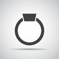 Ring icon with shadow on a gray background. Vector illustration