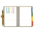 Ring organizer notebook with pencil and post it paper background design Royalty Free Stock Photos