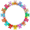 Ring out of colorful teddy bears Royalty Free Stock Image