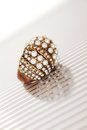 Ring with pearls close up of a large isolate Royalty Free Stock Photo