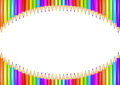 Ring of rainbow colored pencils creating a circle shape isolated over white background. Royalty Free Stock Photo
